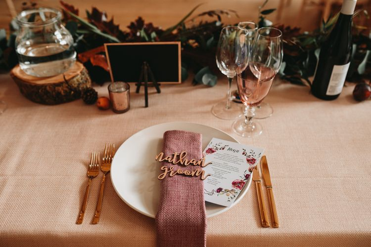 Place setting with napkin and lazer cut name place