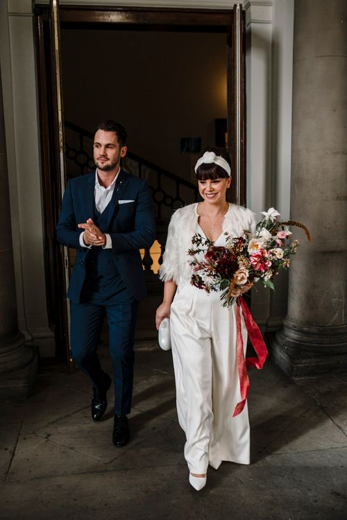 Bride and groom just married at Liverpool wedding