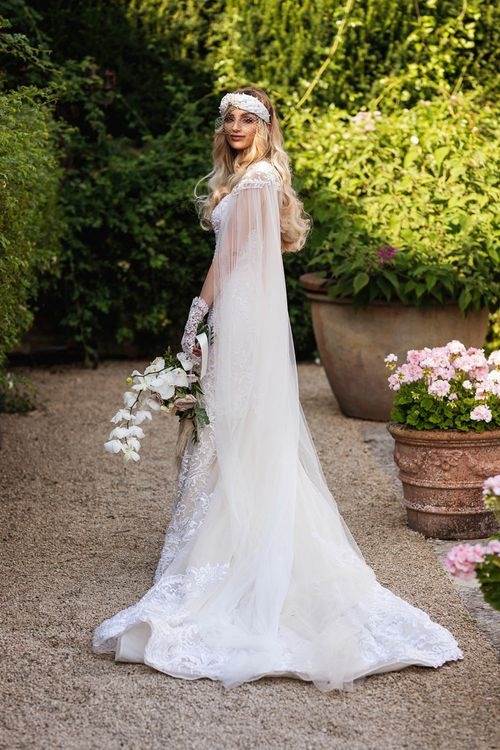 Bride in Wona Concept wedding dress and veil