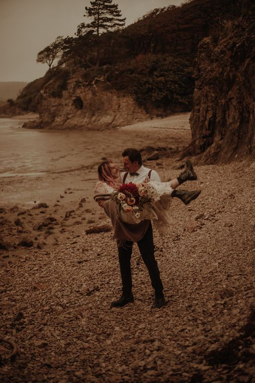 Beach elopement in the Lake District by Esme Whiteside Photography