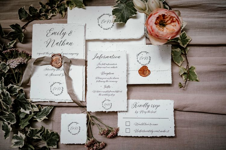 Recycled paper wedding stationery for sustainable wedding