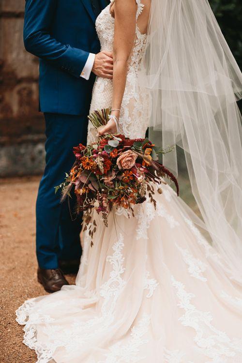 Orange flower autumn wedding bouquet