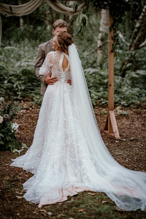Wedding dress designed with remnants of fabric