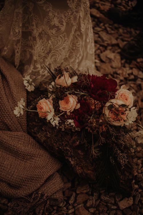 blush wedding flowers at Lake District Elopement wedding