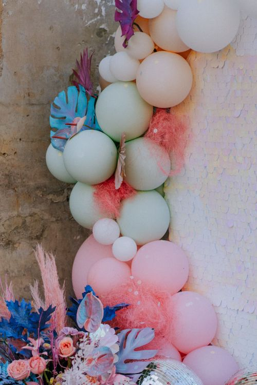 pastel coloured balloon installation