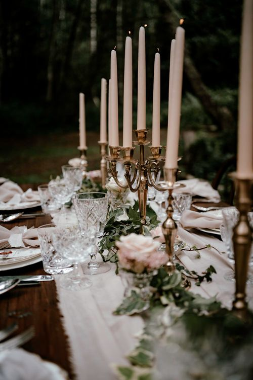 Tall taper candle wedding centrepieces