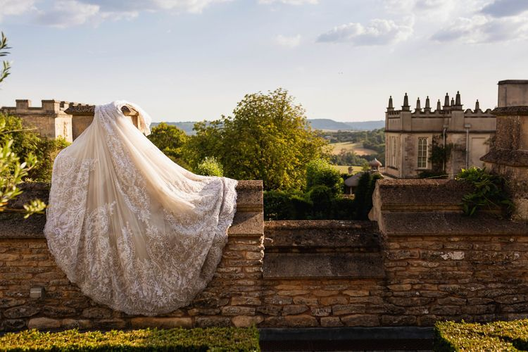 Brides Wona Concept wedding dress drying at The Lost Orangery