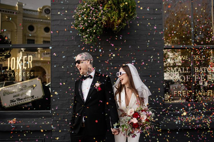 Colourful confetti moment at Brighton micro wedding