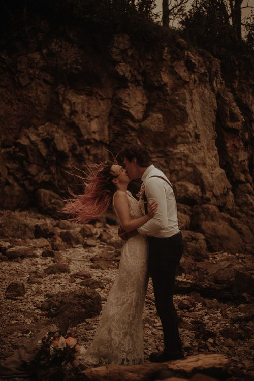 Bride and groom kissing at intimate wedding by Esme Whiteside Photography