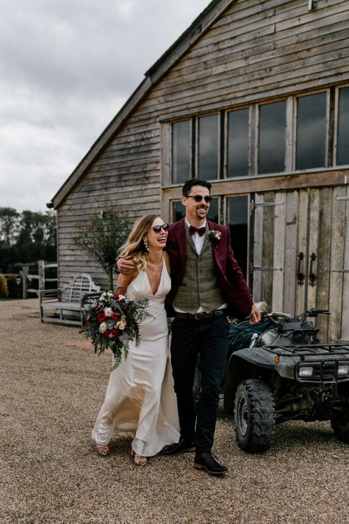 Bride and groom portrait at High Billinghurst Farm by Epic Love Story Photography