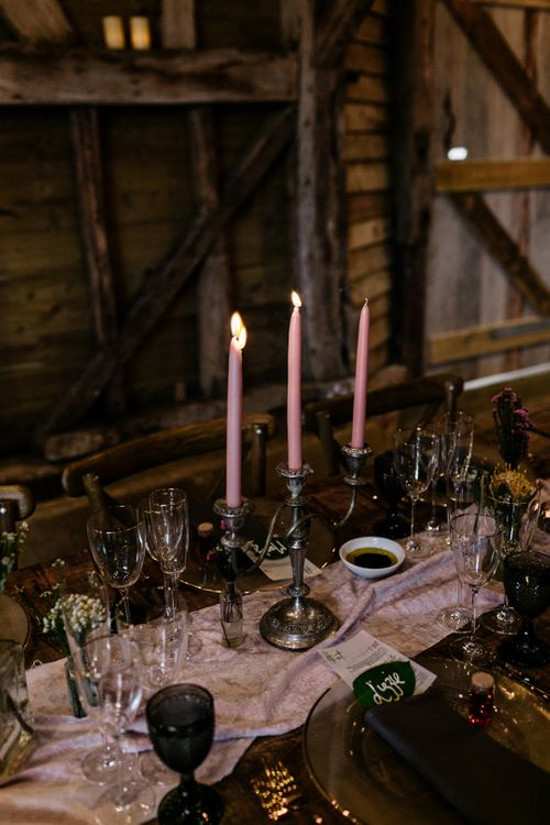 silver candlestick and taper candle wedding decor