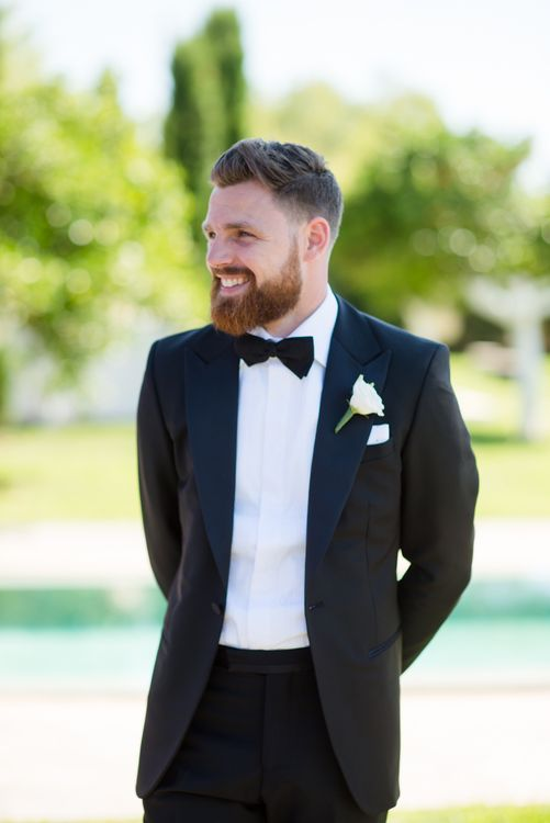 Groom in Black Tie Wedding Suit | Outdoor Ibiza Destination Wedding | Gypsy Westwood Photography | Infin8 Film