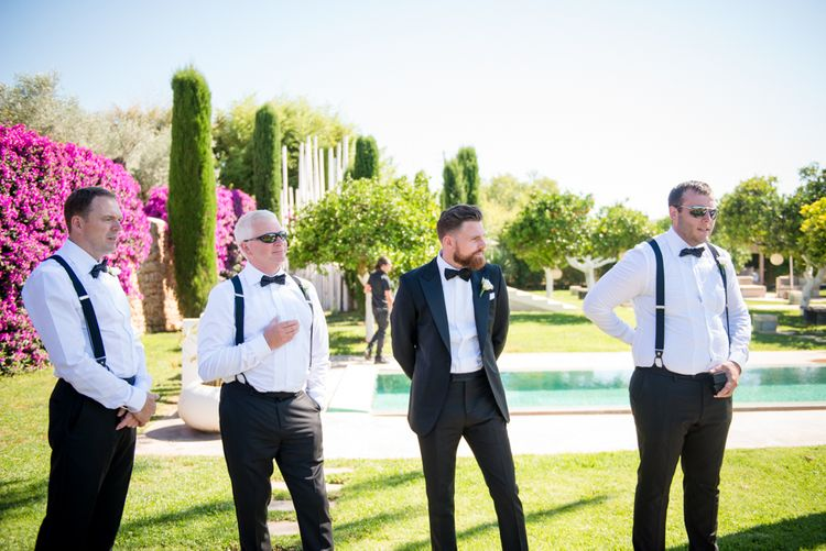 Groomsmen in Reiss Black Tie Suits | Outdoor Ibiza Destination Wedding | Gypsy Westwood Photography | Infin8 Film
