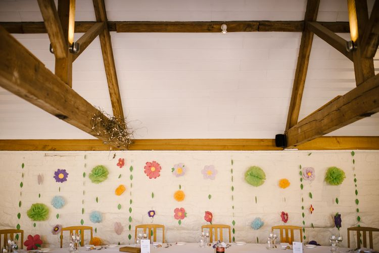 DIY Paper Flower Backdrop | Curradine Barns, West Midlands | Chris Barber Photography