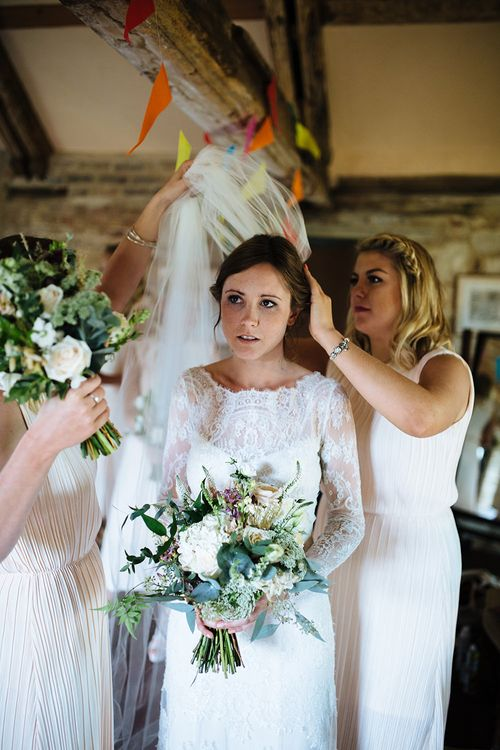 Getting Ready | Bride in Lace Sottero & Midgley Gown | Bridesmaids in & Other Stories Dresses | Tawny Photo