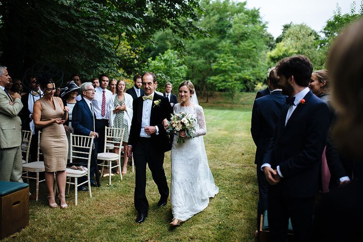 Outdoor Wedding Ceremony at Childerley Hall | Bride in Lace Sottero & Midgley Gown | Father of The Bride in Marks and Spencer Tuxedo | Tawny Photo
