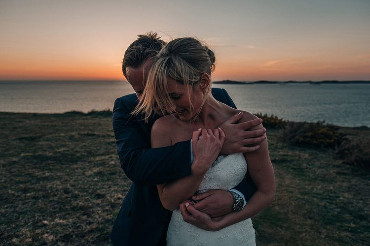 Bride in Pronovias Wedding Dress   Groom in Navy Ted Baker Suit   Isles of Scilly Wedding   Jason Mark Harris Photography