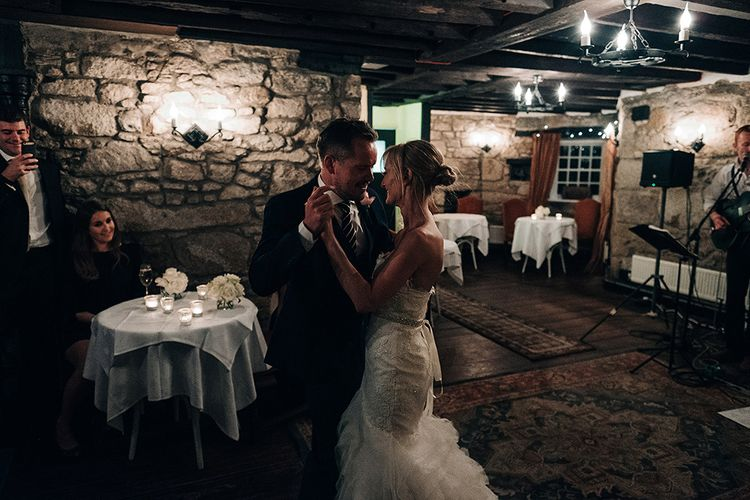 First Dance Bride in Pronovias Wedding Dress   Groom in Navy Ted Baker Suit   Isles of Scilly Wedding   Jason Mark Harris Photography