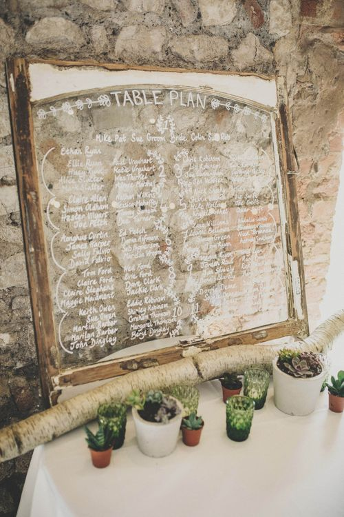 Glass Mirror Table Plan & Rustic Decor