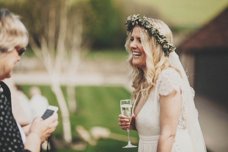 Bride with Greenery Flower Crown