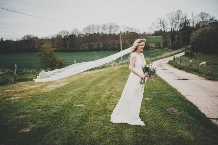 Boho Bride in Laure de Sagazan Allen Bridal Gown from The Mews Nottinghill