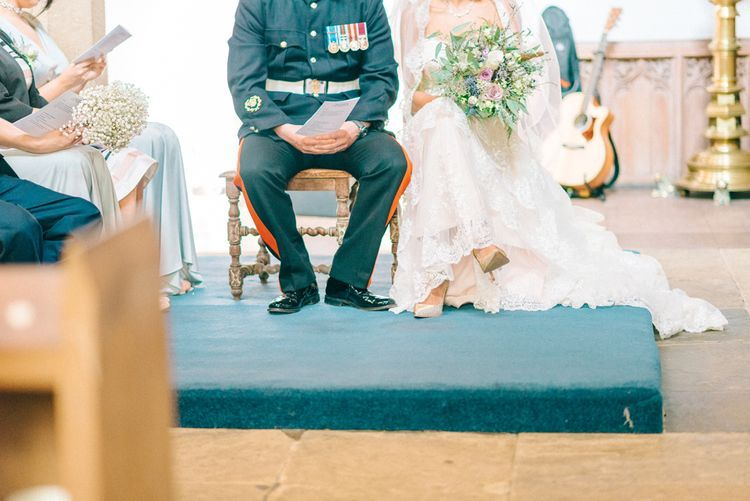 Military Uniform Groom & Bride in Lace Illusion Essense of Australia Wedding Dress