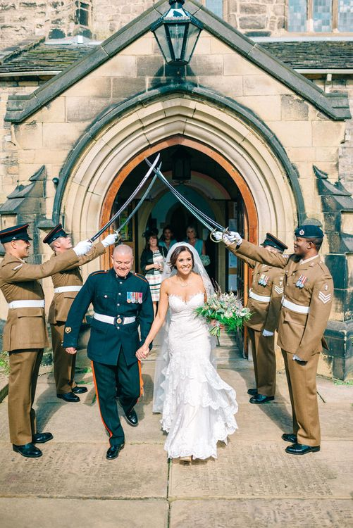 Bride & Groom Exit under Military Sword Arch