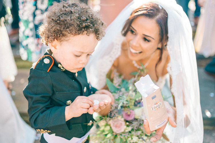 Bride in Lace Illusion Essense of Australia Wedding Dress & Son in Mini Military Uniform