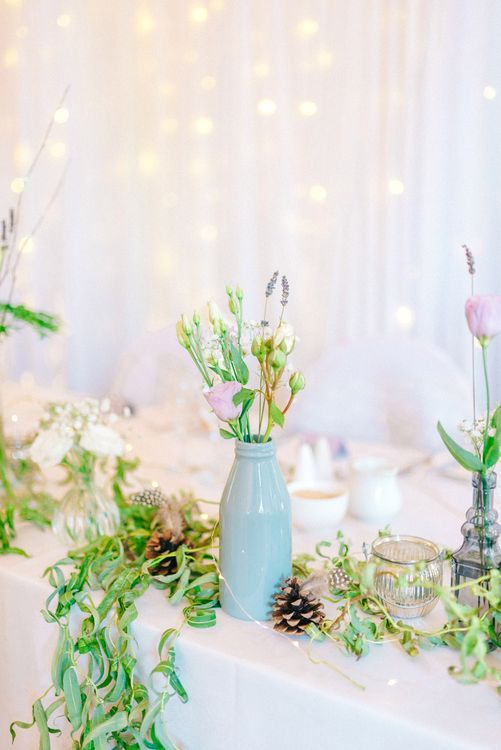 Vases with Wild Flower Stems Table Decor
