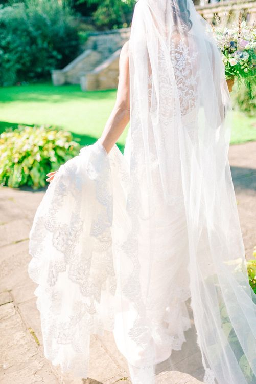 Bride in Lace Illusion Essense of Australia Wedding Dress