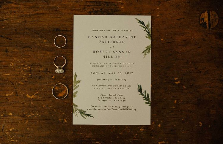 Elegant Foliage Print Stationery For Wedding