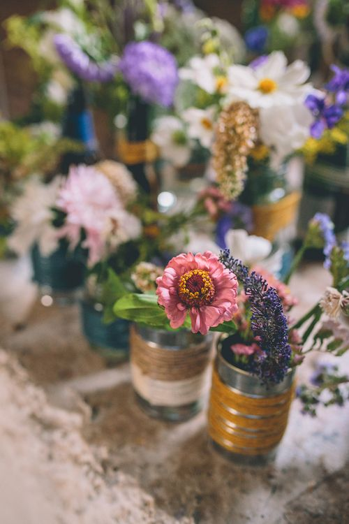 Flowers In Jam Jars & Tin Cans Wedding Decor