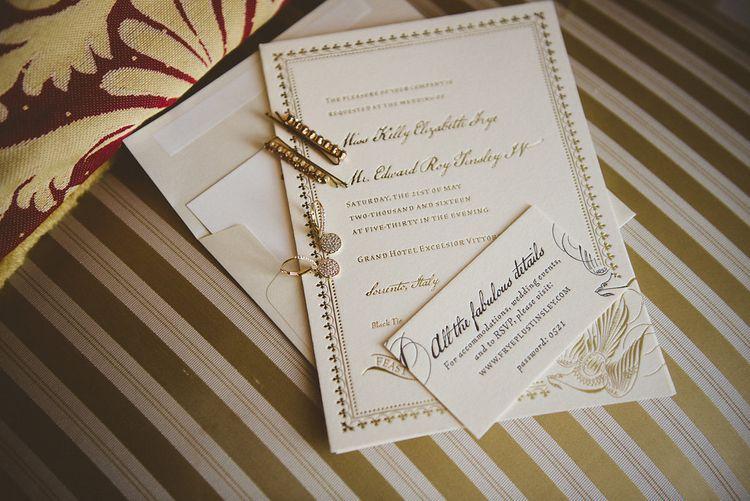 Elegant White & Gold Wedding Stationery