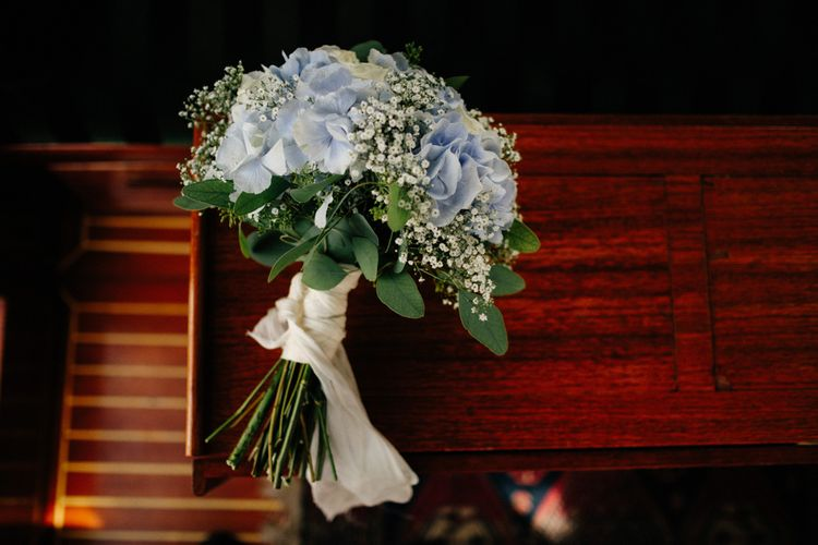 Simple Bridal Bouquet In Blues & Whites