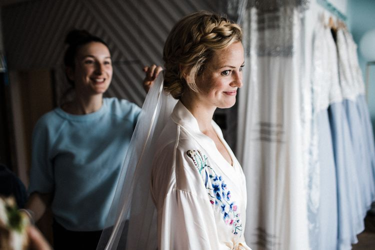 Beautiful Bride Getting Ready // Jenny Packham Bride For A Relaxed Garden Party Style Wedding At Bourne & Hollingsworth Building With Bridesmaids In Coast Separates Images From Through The Woods We Ran