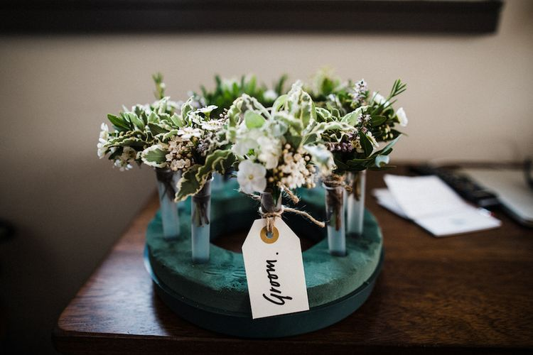 Buttonholes From Worm London // Jenny Packham Bride For A Relaxed Garden Party Style Wedding At Bourne & Hollingsworth Building With Bridesmaids In Coast Separates Images From Through The Woods We Ran