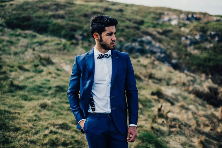 Groomswear // Navy Suit With Navy Bowtie