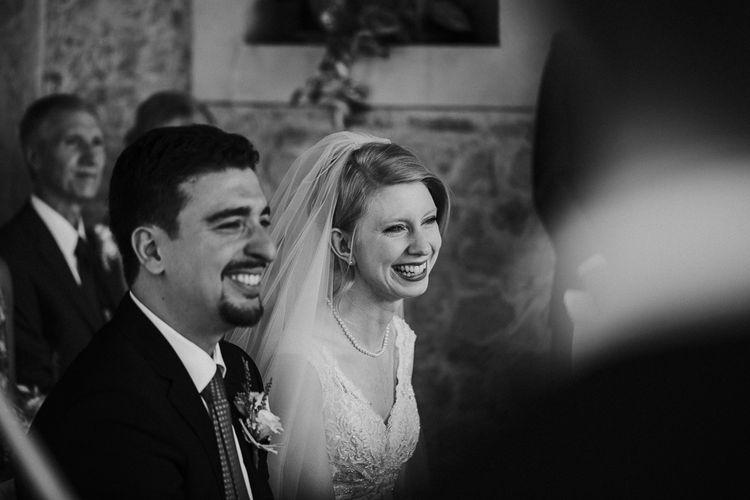 Outdoor Wedding Ceremony   Bride in David's Bridal Wedding Dress   Intimate Love Memories Photography