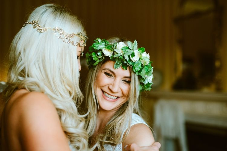 Bridesmaid In White Rose & Foliage Flower Crown