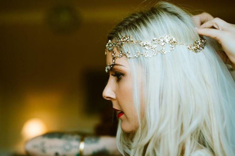 Bride In Gold Headpiece