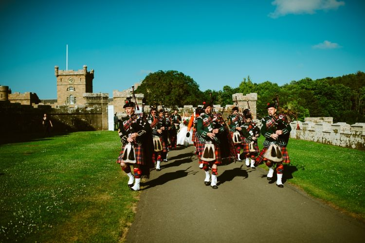 Castle Wedding In Scotland With A Pipe Band