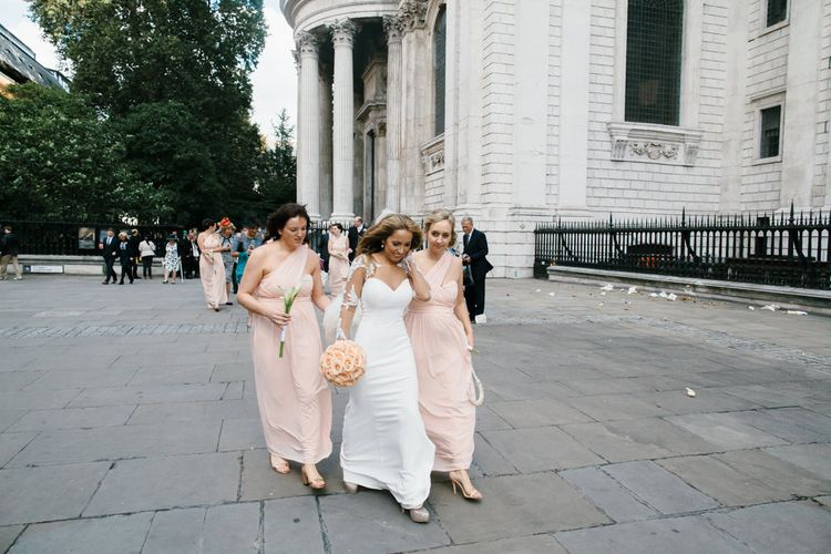Bride in Martina Liana from Essense of Australia Bridal Gown & Peach ASOS Bridesmaid Dresses