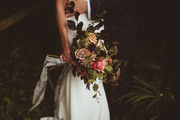 Loose Autumnal Bridal Bouquet with Grey Ribbon
