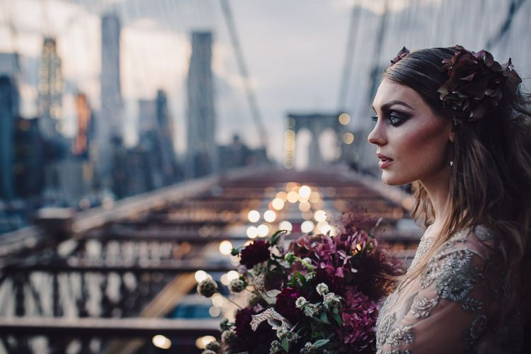 Urban Inspiration Shoot in New York City | Soho to Brooklyn Bridge | Suzanne Hardward Couture Gown | Deep Florals | Bonnie Jenkins Photography