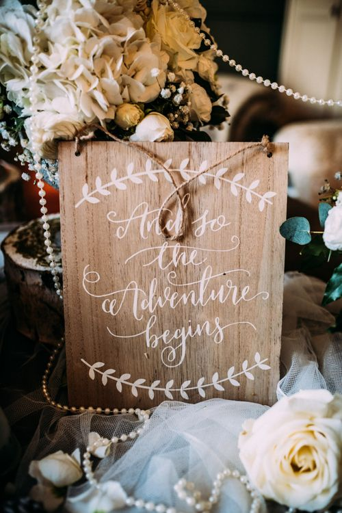 Wooden Wedding Sign with White Calligraphy