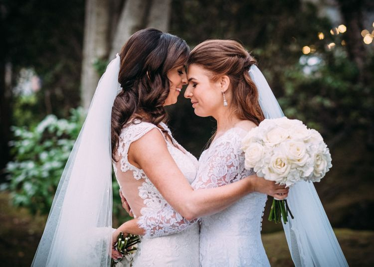 Same Sex Wedding with Two Brides in Lace Wedding Dresses
