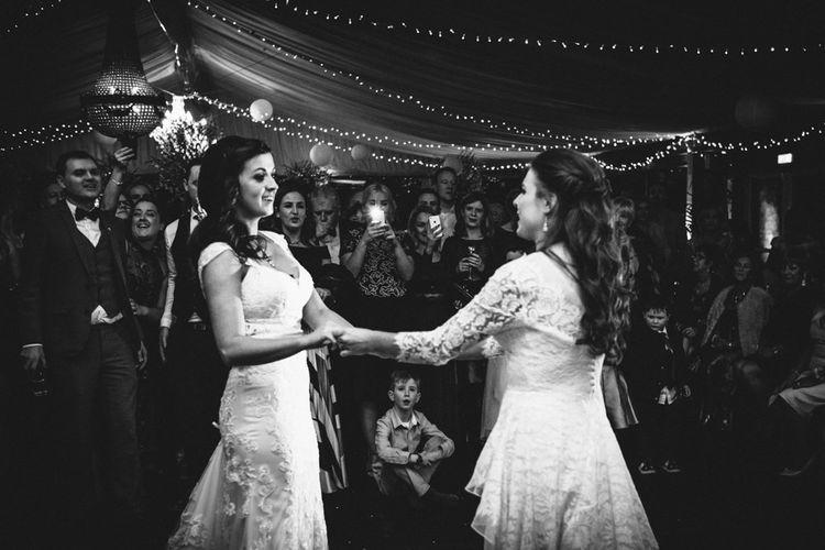 First Dance with Two Bride in Lace Wedding Dresses