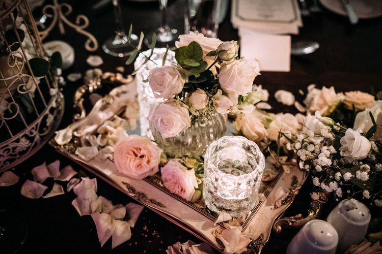 Vintage silver Tray with Roses and Candle Decor