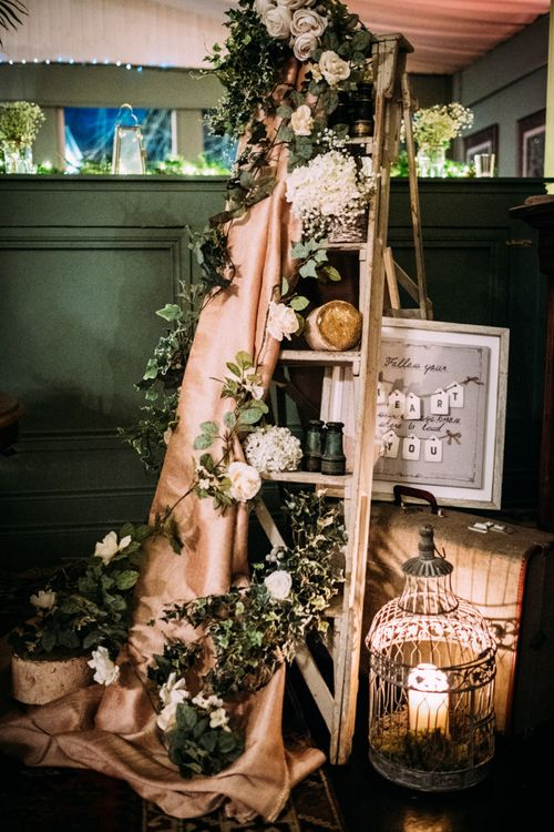 Vintage Step Ladder Wedding Decor with Flowers and Candles