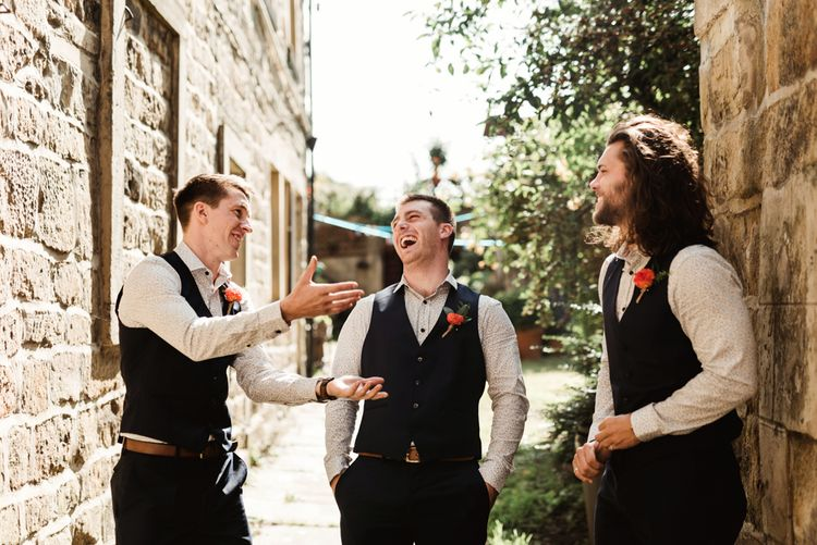 Groomsmen in Waistcoats | Colourful Outdoor Ceremony and Marquee Reception at Braisty Estate in North Yorkshire | The Lou's Photography